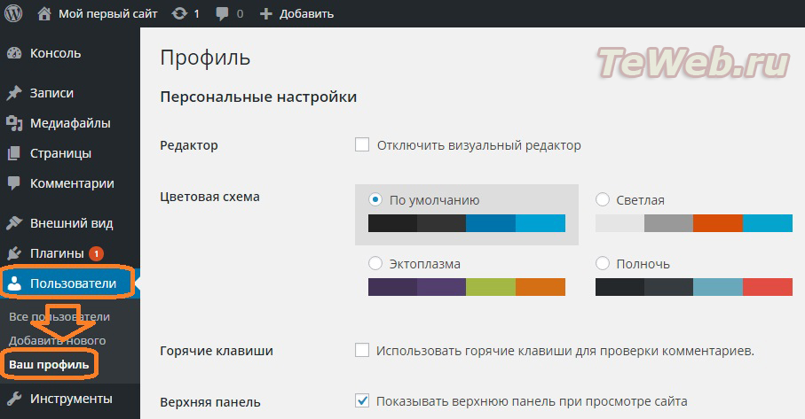 Настройка WordPress TeWeb.ru (1)